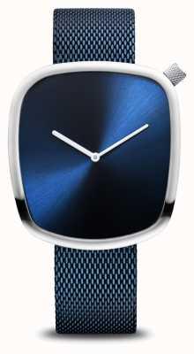 Bering 经典|鹅卵石拉丝蓝色|方形表盘|蓝色网 18040-307