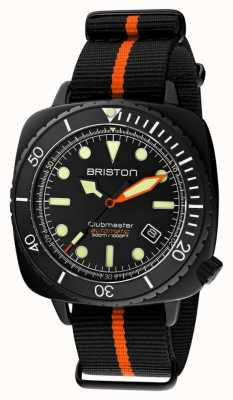 Briston Clubmaster潜水员专业版 黑色/橙色北约表带 黑色表盘 20644.PBAM.B.35.NBO