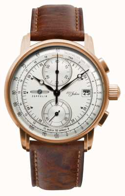 Zeppelin 男士计时码表| 100年|棕色皮革表带 8672-1