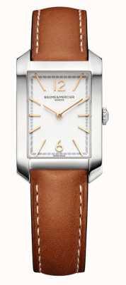 Baume & Mercier 汉普顿矩形|女式|棕色皮革|银色表盘 M0A10472