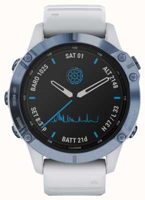 Garmin Fenix 6 pro太阳能 钛矿物蓝白色橡胶表带 010-02410-19