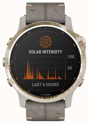 Garmin Fenix 6s pro太阳能 浅金色页岩灰色绒面革表带 010-02409-26