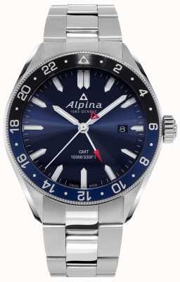 Alpina Alpiner石英gmt |蓝色表盘|不锈钢手链 AL-247NB4E6B