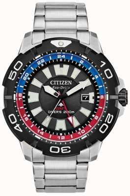 Citizen 男士Promaster潜水员gmt |黑色不锈钢表盘|蓝色和红色的口音 BJ7128-59E