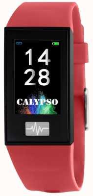 Calypso 男女皆宜| smartime |红色硅胶表带+免费表带 K8500/4