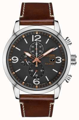 Citizen 男士运动生态驱动棕色皮革表带手表 CA0618-26H