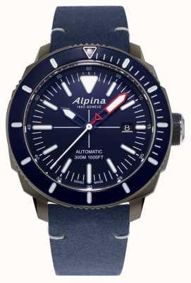 Alpina Seastrong Diver 300自动上链|海军蓝色皮革表带| AL-525LNN4TV6