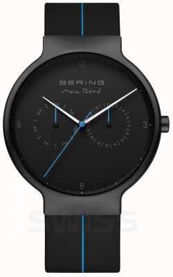Bering 男士Max Rene  黑色硅胶表带 黑色/蓝色表盘 15542-428