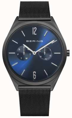 Bering 超薄|黑色钢网手链|蓝色表盘 17140-227