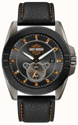 Harley Davidson 男人适合他!  黑色皮革表带 灰色表盘 78B182