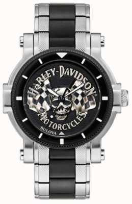 Harley Davidson 男士头骨和旗帜 两音钢手链 黑色表盘 78A124