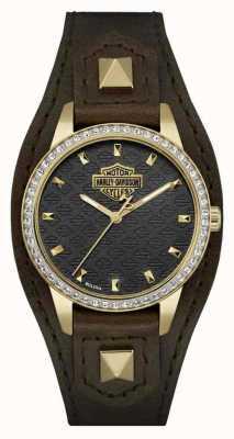 Harley Davidson 女式袖口|棕色皮革表带|黑色表盘| 77L105