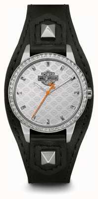 Harley Davidson 女式袖口|黑色皮革表带|银色表盘 76L183