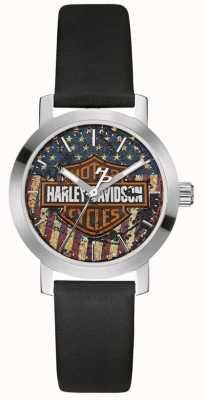 Harley Davidson 女士黑色皮革表带|美国国旗表盘 76L174