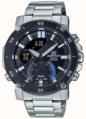 Casio 大厦|不锈钢手链|黑色/蓝色表盘 | ECB-20DB-1AEF