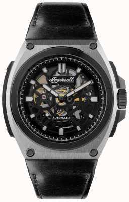 Ingersoll 运动自动黑色镂空表盘黑色皮革表带 I11702