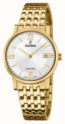 Festina 女士瑞士制造 镀金钢手链 银色表盘 F20021/1