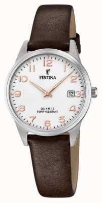 Festina 女士棕色皮革表带 白色表盘 F20510/1