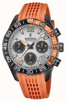 Festina 男士计时码表 橙色硅胶表带 灰色表盘 F20518/1