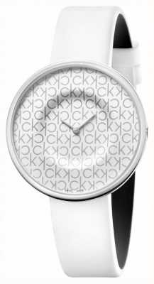 Calvin Klein 躁狂症|妇女的白色皮革表带|白色表盘 KAG231LX