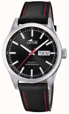 Lotus 男士黑色皮革表带|红色缝线|黑色表盘 L18671/4