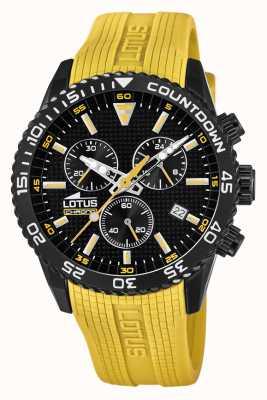 Lotus 男士黄色硅胶表带|黑色计时码表盘 L18672/4