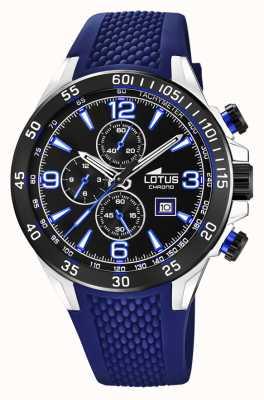Lotus 男士蓝色硅胶表带|黑色计时码表盘 L18673/8