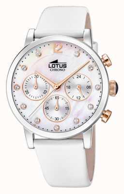 Lotus 妇女的白色皮革表带|珍珠贝母表盘 L18674/1