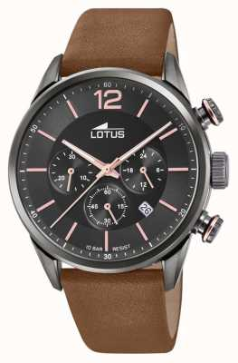 Lotus 男士棕色皮革表带|黑色计时码表盘 L18687/2