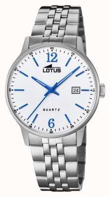 Lotus 男士不锈钢手链|银表盘|蓝色的手/标记 L18694/2
