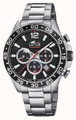 Lotus 男士不锈钢手链|黑色计时码表盘 L18696/4