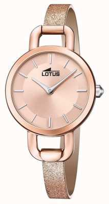 Lotus 女士亮片皮革表带|玫瑰金表盘 L18747/1