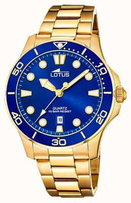 Lotus 男士镀金钢手链|蓝色表盘 L18761/1