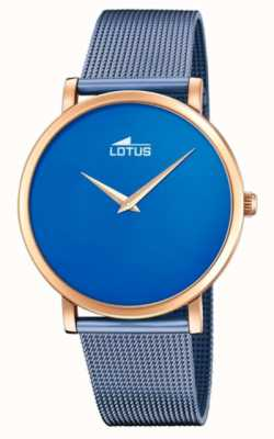 Lotus 女士蓝色钢网手链|蓝色表盘|玫瑰金表壳 L18773/2