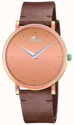 Lotus 女士棕色皮革表带|玫瑰金表盘 L18778/2