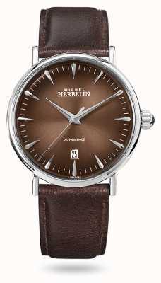 Michel Herbelin 灵感自动|男士棕色皮革表带|棕色表盘 1647/AP27