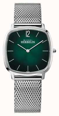 Michel Herbelin 城市 男士钢网手链 绿色表盘 16905/16B