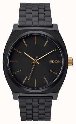 Nixon 时间出纳员|磨砂黑/金|黑色ip钢手链|黑色表盘 A045-1041-00