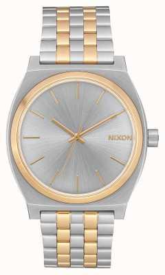 Nixon 时间出纳员|银/金|两音钢手链|银色表盘 A045-1921-00