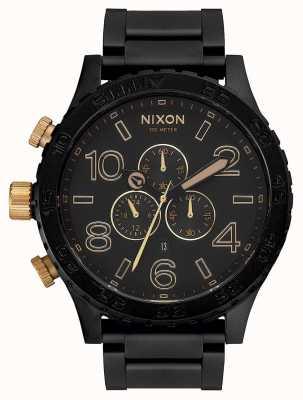 Nixon 51-30计时|磨砂黑/金|黑色ip手链|黑色表盘 A083-1041-00