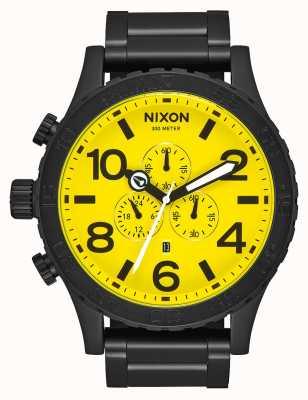 Nixon 51-30计时|全黑/黄色|黑色ip钢手链|黄色表盘 A083-3132-00