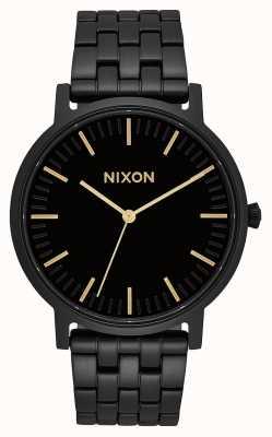 Nixon 搬运工 全黑/金色 黑色ip钢手链 黑色表盘 A1057-1031-00