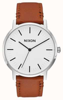 Nixon 搬运工皮革 白色阳光/鞍座 棕色皮革表带 白色表盘 A1058-2442-00