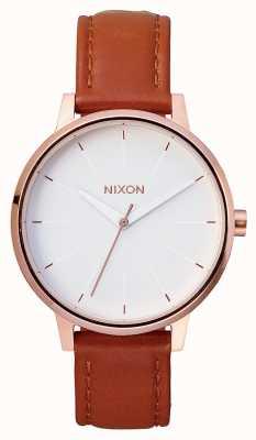 Nixon Kensington皮革 玫瑰金/白 棕色皮革表带 白色表盘 A108-1045-00