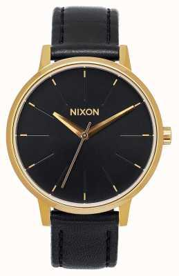Nixon Kensington皮革 金色/黑色 黑色皮革表带 黑色表盘 A108-513-00