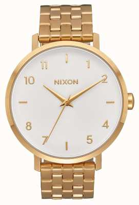 Nixon 箭 全金/白 黄金ip钢手链 白色表盘 A1090-504-00