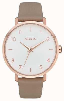 Nixon 箭革 玫瑰金/灰色 灰色皮革表带 白色表盘 A1091-2239-00