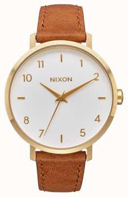 Nixon 箭革 黄金/白/马鞍 棕色皮革表带 白色表盘 A1091-2621-00