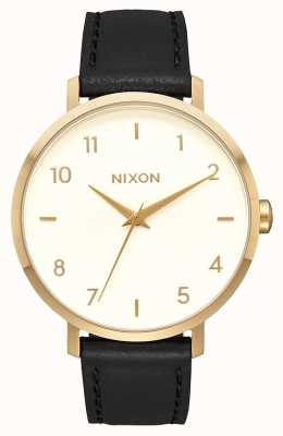 Nixon 箭革 金色/奶油色/黑色 黑色皮革表带 奶油色表盘 A1091-2769-00