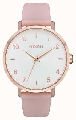 Nixon 箭革 玫瑰金/浅粉色 粉色皮革表带 白色表盘 A1091-3027-00
